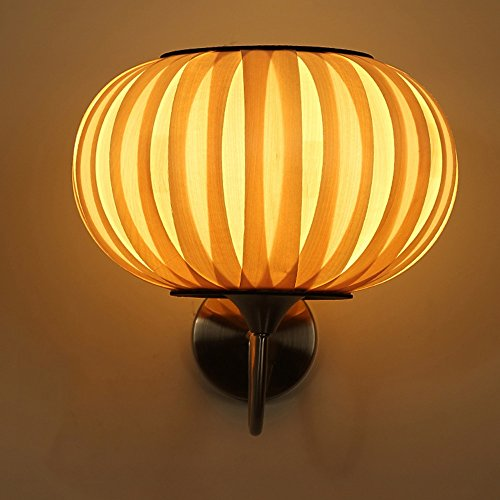 Creative thin Wood Wall Lamp Pumpkin shape Sector Veneer wall Lights Hand knitting process Iron paper base Teahouse balcony corridor yard lamp Bedroom Wall Light (wood) ( Design : A ) (Veneer Table Shade Wood Lamp)