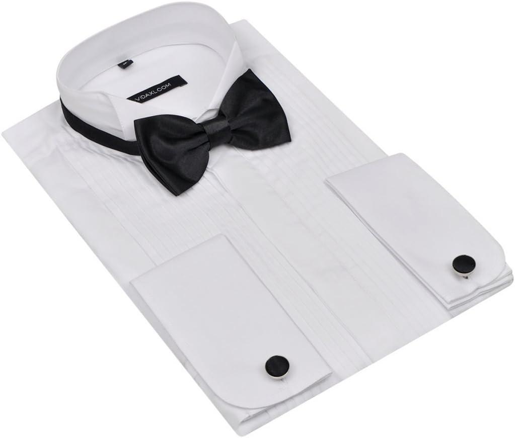 Fijo Night Camisa para hombre blanco Smoking Camisa Manga Larga Camisa con 2 manguito Botones y mosca Talla S, xx-large: Amazon.es: Hogar