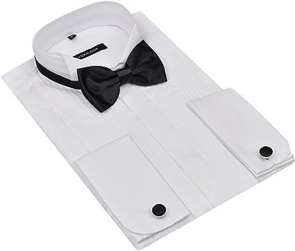 Fijo Night Camisa para hombre blanco Smoking Camisa Manga ...