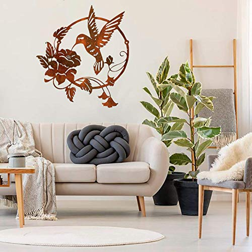 wSelio Metal Hummingbird Flower Wall Art Decor, Inspirational Wall Decor Sculpture Hanging Indoor Outdoor for Home, Bedroom, Living Room, Office, Garden (A-25x25cm)