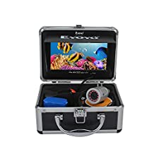 Eyoyo Portable 7 inch LCD Monitor Fish Finder Waterproof Underwater HD 1000TVL Fishing Video DVR Camera with 30m Cable,12pcs IR Infrared LED,8GB SD Card for Ice,Lake and Boat Fishing(Silver Color)