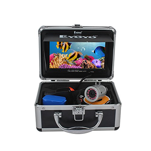 Eyoyo Portable 7 inch LCD Monitor Fish Finder Waterproof Underwater HD 1000TVL Fishing Video DVR Camera with 30m Cable,12pcs IR Infrared LED,8GB SD Card for Ice,Lake and Boat Fishing(Silver Color) (Underwater Video Recorder)