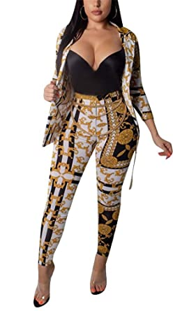 47a77f1366c Amazon.com  HuiSiFang Women s 2 Piece Outfit Floral Print Long Sleeve Open  Front Blazer Jacket Bodycon High Waist Long Pants Clubwear  Clothing