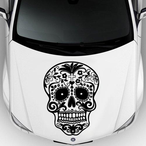 Car Decal Hood Sticker Vinyl Design Crazy Sugar Skull Sticker Graphics Emo Goth Gothic Metal Gift (Emo Sticker)