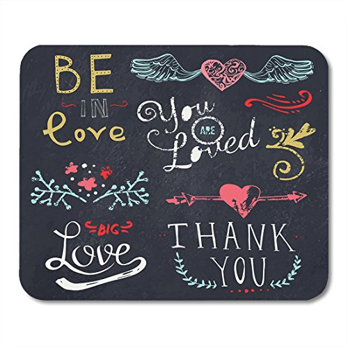 (Boszina Mouse pad Color Chalk Wedding and Valentine's Day Doodle Floral Ornaments Lettering Hearts and Arrow on Chalkboard Office Supplies mouses pad 9.5x7.9 Inches Mousepad)