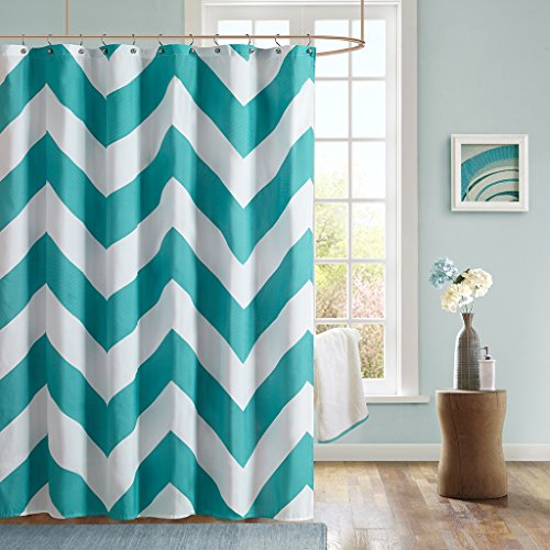 Mi-Zone Mizone MZ70-170 Libra Shower Curtain 72x72 Teal, (Mizone Shower Curtain)