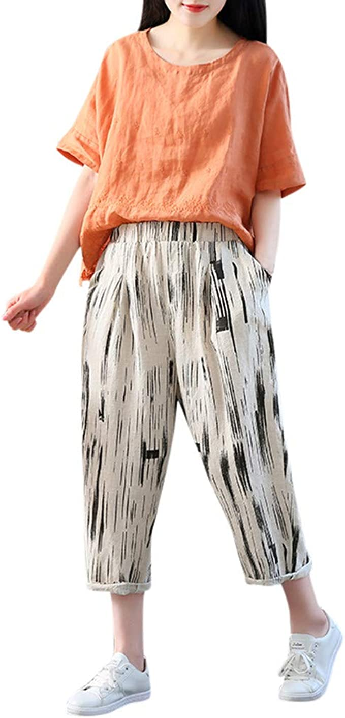cinnamou Pantalones Mujer, Casual Pantalones Chinos Estampado ...