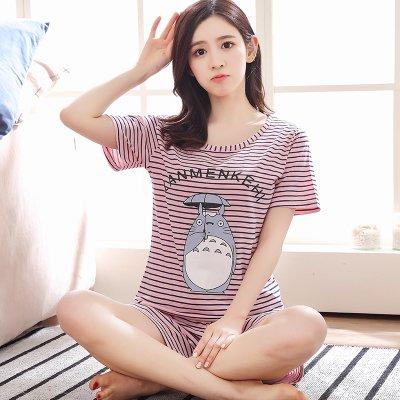 Blue Stones Pajamas Sets For Women Summer Short Sleeve Cartoon Cute Sleepwear Girl Pijamas Mujer Nightgown