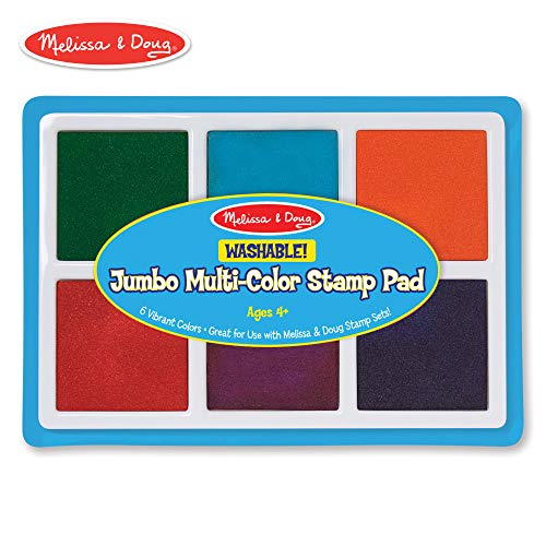 Washable Rainbow Stamp Pad - Melissa & Doug Jumbo Multi-Colored Stamp Pad With 6 Washable Inks (Arts & Crafts, Oversized Ink Pad for Bigger Stamps, Washable Ink)