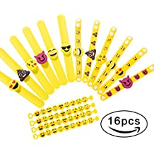 Rubber Bracelets, Emoji Party Supplies Slap Wristbands, Kids Party Favors Decorations, Cute Children Goody Bag Fillers Toy Gifts, 16 Pack In 3 Styles