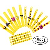 Image of Emoji Rubber Wristband Bracelets Party Toys , Pack of 16 Mixed Emoticon Variety Party Bracelets Gifts, Kids Birthday Party Favors Supplies Bag Fillers for Events Accessories..