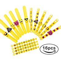 Emoji Rubber Wristband Bracelets Party Toys , Pack of 16 Mixed Emoticon Variety Party Bracelets Gifts, Kids Birthday Party Favors Supplies Bag Fillers for Events Accessories..