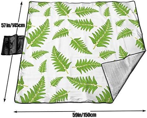 Nonebrand, coperta da picnic senza cuciture, con motivo a foglie di felce, lavabile, pieghevole, impermeabile, per picnic, campeggio, spiaggia, dimensioni grandi 57 x 59 cm