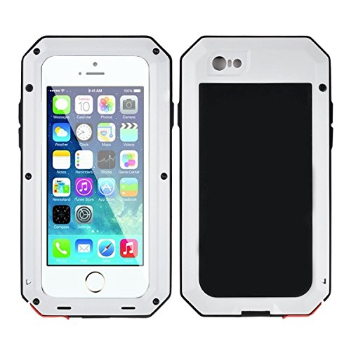 iPhone 6/6S Case,Mangix Gorilla Glass Luxury Aluminum Alloy Protective Metal Extreme Shockproof Military Bumper Finger Scanner Cover Shell Case Skin Protector for Apple iPhone 6/6S 4.7inch (White)