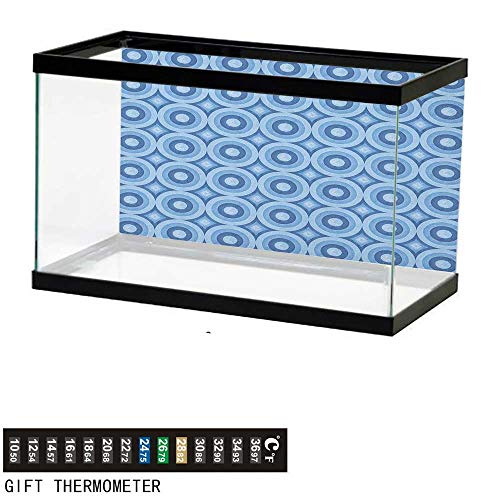 Jinguizi BlueAquarium BackgroundRetro Pattern with Grunge Look Classical Revival Tile Design Nested Ring Shapes24 L X 12