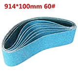 7pcs 60/120 Grit Sanding Belts 914mm x 50/100mm Zirconia Abrasive Sanding Belts - #002
