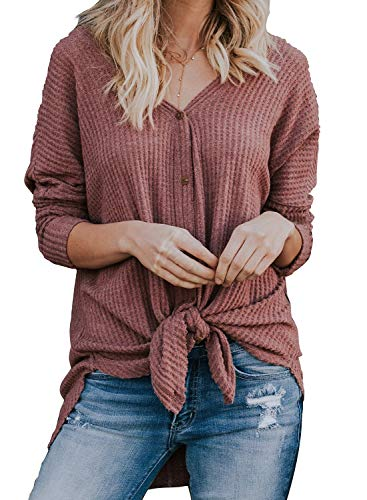 (MIHOLL Womens Loose Blouse Long Sleeve V Neck Button Down T Shirts Tie Front Knot Casual Tops Christmas (Medium, Z- Red))