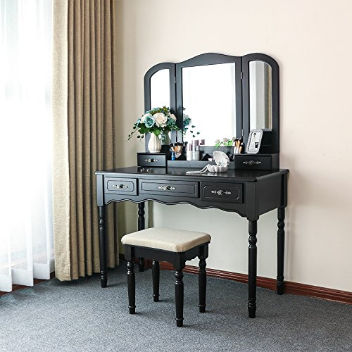 BEWISHOME Vanity Set with Large Tri-Folding Mirror & Cushioned Stool Vanity Desk Dressing Makeup Table 5 Drawers 2 Dividers Desk Organizer Black FST03H