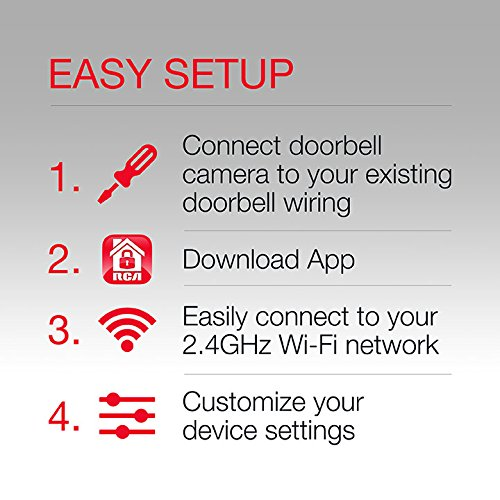 RCA Smart Doorbell Home Security Wifi Video Camera with Mobile Doorbell Ring,16GB Micro SD Card, 2-Way Talk, Night Vision and Motion Detection. Works w/ iOS, iPhone, Android, Samsung, Google and more! by RCA (Image #3)