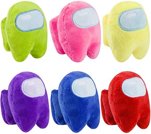 6 Pcs Crewmate Plush Toy with BB Sound- 4in Vote Imposter Game Squeeze Plushie Doll in 6 Astronaut Anxiety Stress Relief Toy for Among Us Game Fans Kids Birthday Holiday Present