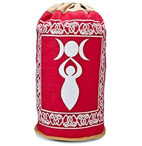 """100% algodón Luna Triple Diosa Mochila bolsa rojo blanco 18"""" (46cm)"""