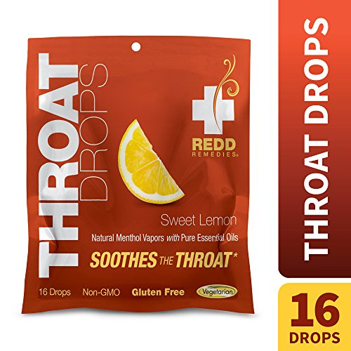 Redd Remedies – Throat Drops, Herbal Cough Drops to Soothe and Support Healthy Breathing, Sweet Lemon, 16 Servings (16 Drops)