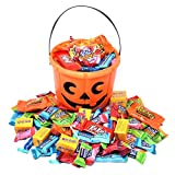 Halloween Gift Orange Bucket with Assorted Candies and Chocolates, Reese's, Jolly Rancher, KitKat and Milk Duds, 2.5 Lbs