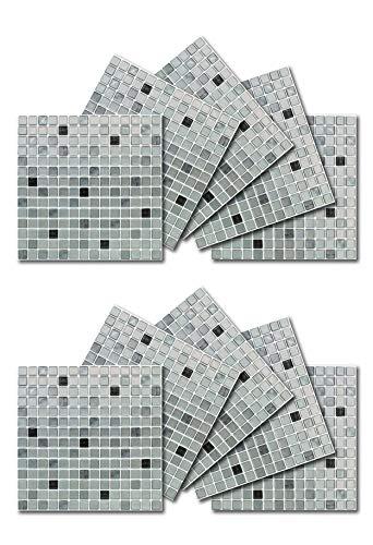 BEAUSTILE Decorative Tile Stickers Peel Stick Backsplash Fire Retardant Tile Sheet (Monocrome) (10, 12.2'' x 12.2'') by BEAUS TILE (Image #1)