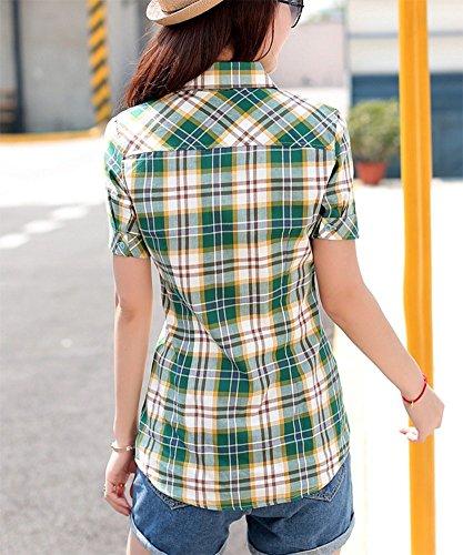 Fonc Femme Blouse Manches Et T Carreaux Chemise Coton Vert Courtes Slim Shirt wealsex 6wq7Ht7