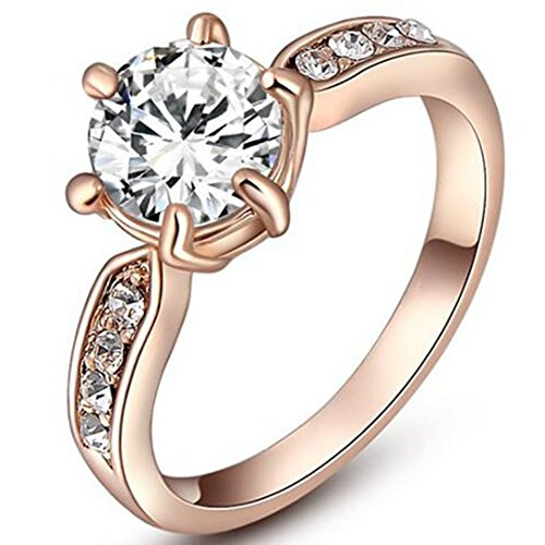 Stainless Steel 2.0 Carat Wedding Engagement Solitaire Ring Valentine Propose Anniversary (Rose Gold, 7)