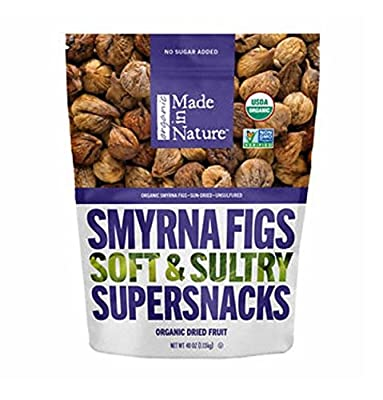 Made In Nature Organic Smyrna Figs Soft & Sultry Supersnacks 40 oz. Resaelable Bag by Made In Nature