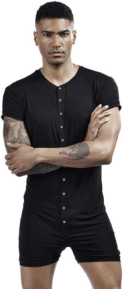 GYMAPE Mens Short Sleeve Onesie Henley Jumpsuit Pajamas Stretchy Cotton One Piece Garment