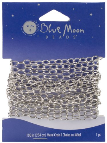 Blue Moon Medium Wide Cable Chain, 100-inches, 1/Pkg, Silver