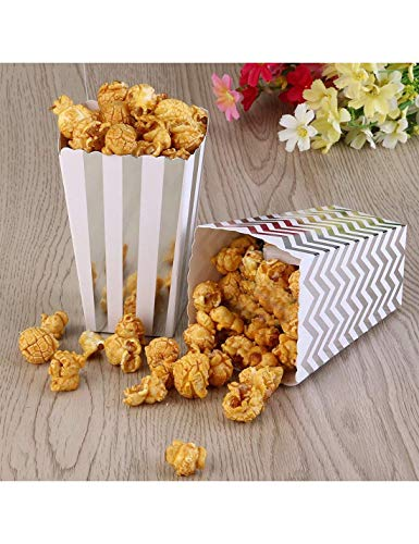 HANSGO Small Popcorn Boxes, 36PCS Striped Popcorn Paper Bags Popcorn Containers Cardboard Candy Containers for Carnival Movie Theater