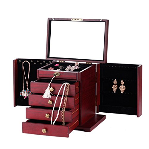 Wooden Jewelry Box Cabinet Armoire Ring Necklacel Gift Storage Box(CHERRY-2) by Rowling (Image #3)