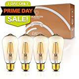 LED Dimmable Vintage Edison Led Bulbs 4W Antique Style Edison Light Bulbs, 2200K Warm White (Amber Gold Glass), Dimmable Vintage Light Bulb - ST58 - E26 Base - Edison LED Bulb - 2 Year Warranty