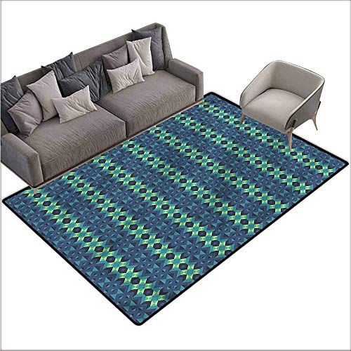 (Polyester Non-Slip Doormat Rugs Colorful Blue and Green,Geometric Zigzag 48
