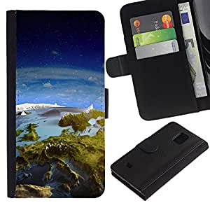 All Phone Most Case / Oferta Especial Cáscara Funda de cuero Monedero Cubierta de proteccion Caso / Wallet Case for Samsung Galaxy S5 Mini, SM-G800 // Earth Panorama Landscape View Space Europe