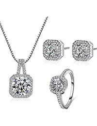 925 Silver Necklace Pendant Halo Cushion Cut Ring Bridal Engagement Jewelry Set For Women Gift