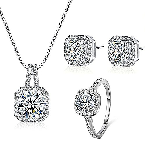 925 Silver Necklace Pendant Halo Cushion Cut Ring Size 8 Bridal Engagement Jewelry Set For Women Gift (925 Necklace Set)