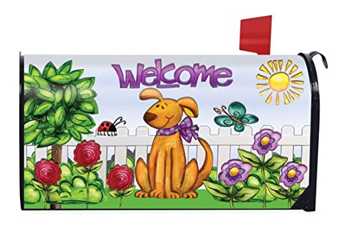 Spring Mailbox Cover - Dog Welcome Spring Magnetic Mailbox Cover Floral Puppy Briarwood Lane