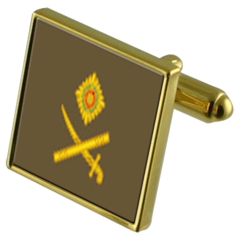 Army Insignia Rank Major General Gold-tone Cufflinks Crystal Tie Clip Gift Set