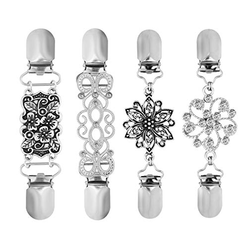 BESTOYARD Sweater Clips Vintage Sweater Chain Creative Silver Cardigan Clip for Dress Clothes 4pcs