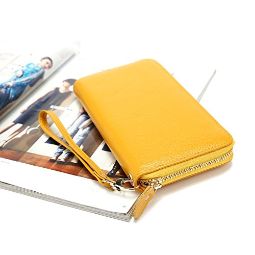 Orange function Classic Long With Purse Clutch Zipper Wallet Women's Simple Lovely Casual Color Yellow Strap Wrist Multi Long Leather rabbit 6wWpUqPRA