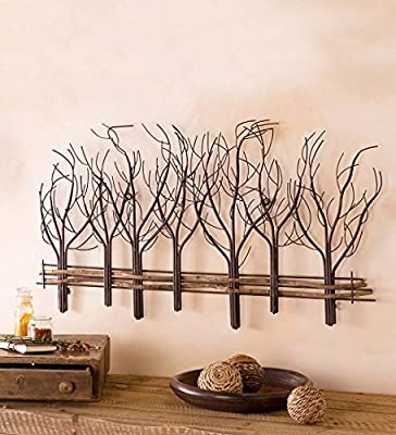 Metal and Natural Vine Tree Wall Art - 35 L x 22 H x 1 D