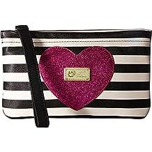 New Betsey Johnson Logo Large Wristlet Purse Bag Black White Stripped Pink Pouch