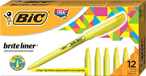 BIC BL11YW Brite Liner Highlighter, Chisel Tip, Fluorescent Yellow, ()