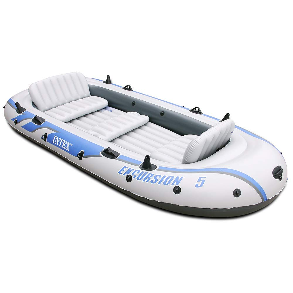 Teerwere-pht Double Inflatable Kayak Backrest Inflatable Boat Dinghy 4 People/5 People Thick Hovercraft Fishing Boat Kayak Set (Color : White, Size : 168366cm) by Teerwere-pht