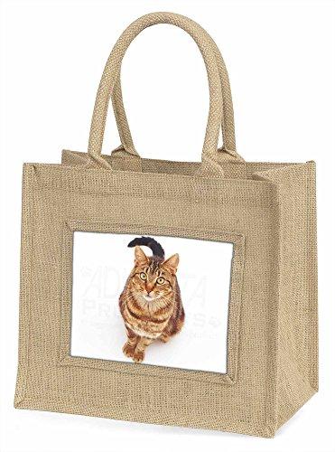 Advanta ac-160bln braun gestromt Katze Große Einkaufstasche/Weihnachten Geschenk, Jute, beige/natur, 42x 34,5x 2cm