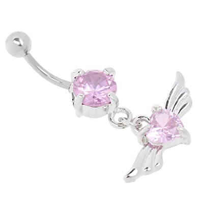 Buy Generic Fashion Women S Navel Belly Ring Crystal Heart Wings